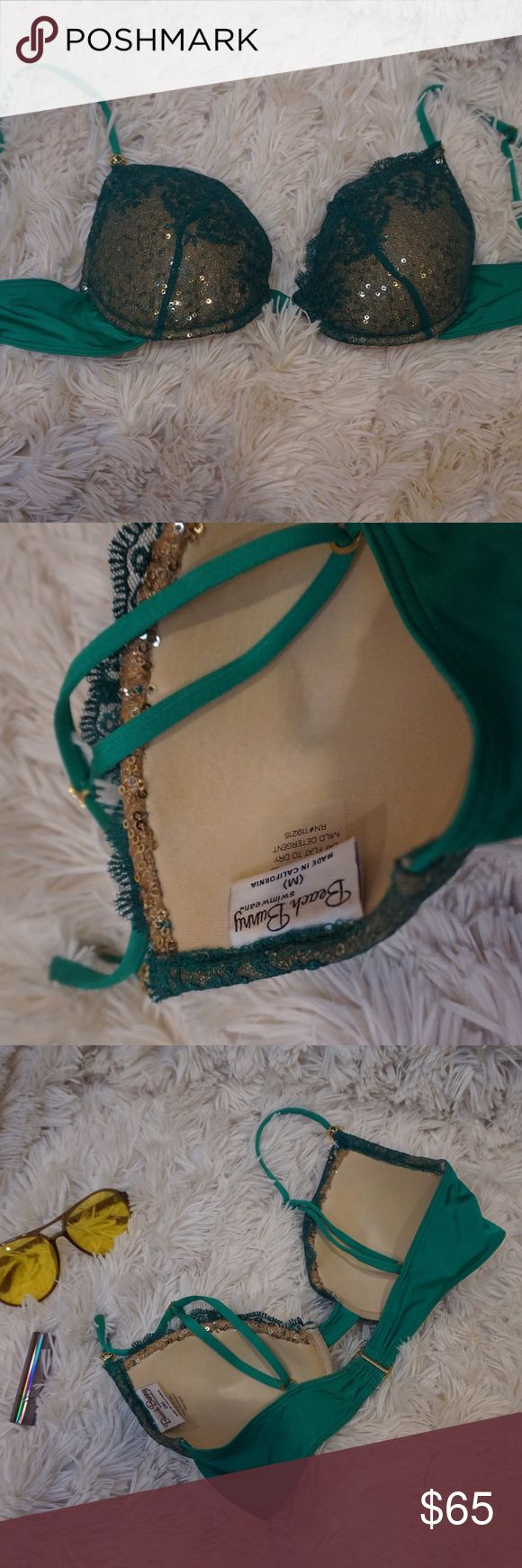 Beach Bunny Swimwear✨🐰 | Bikini Top | size M This top is super sexy & fun! Beautiful green and lace detailing. Adjustable straps with a gold bead on each strap. Fun for a Vegas pool party or maybe a Rave ? Only worn once- my bust is a 34C for reference and it fits perfect ⚡️✌🏼 Beach Bunny Swim Bikinis
