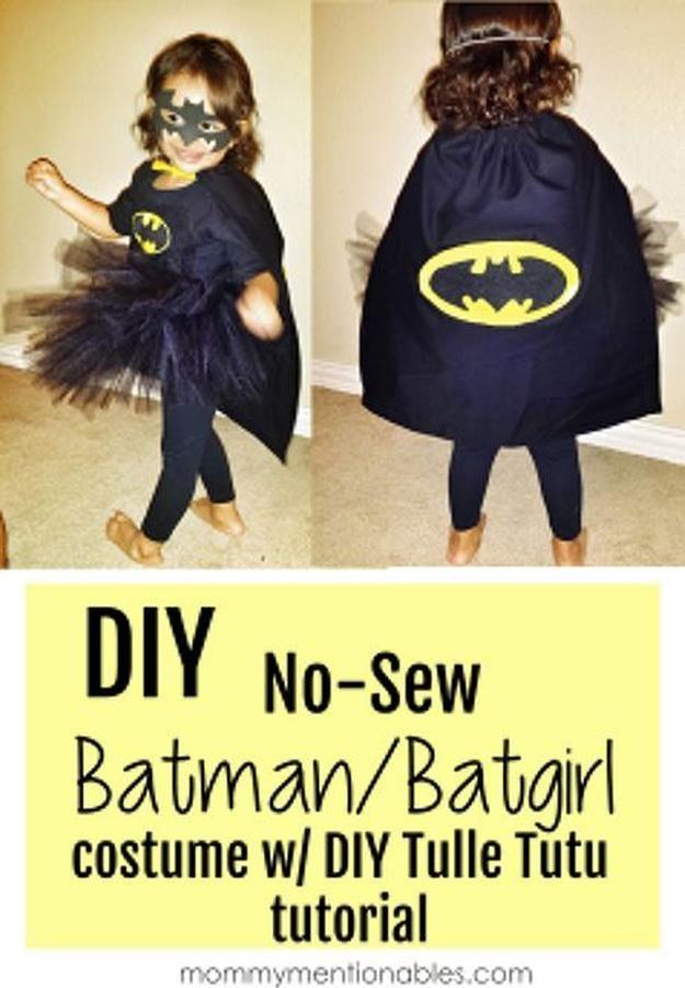 DIY NO-SEW Batman/Batgirl DIY Superhero Capes and other DIY superhero costume ideas, see more at http://diyready.com/diy-superhero-costume-ideas