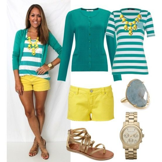 I would wear this with yellow capris, or shinny jeans. Those shorts are way to short for me