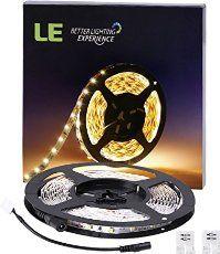 LE Flexibel LED Streifen, 12V DC, 300lm / 4,8W pro Meter, warmweiß, 3000 Kelvin, 300 Stück 3528 LEDs, nicht wasserdicht, 5M in jeder Packung, LED Lichtleisten, LED Lichtband, LED Band, LED Leisten