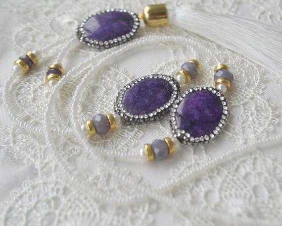 Green Turkish jewelry set mother of pearl gemstone boho