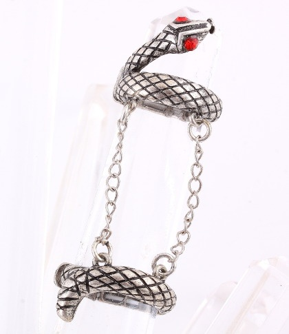 """Double Rings Connect with chains / snake / chain: 1.75""""L / aged-silver color / lead & nickel compliant     $11.25"""