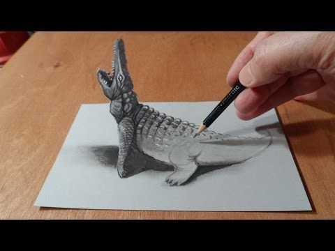 Trick Art, Drawing 3D Crocodile, Time Lapse - YouTube