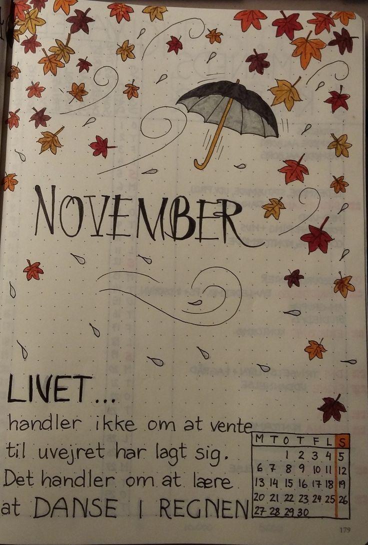 Bullet Journal November Forside Tanja Mo Pin Bullet Journal November Layout Bullet Journal Month Bullet Journal Themes