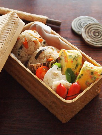 Japanese Onigiri Bento Lunch (Seasoned Takikomigohan Rice Ball, Negi Onion and Red Ginger Mixed Tamagoyaki Egg Roll, Lotus Root Salad) by Misya