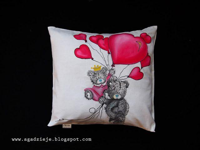 agadzieje: Walentynkowe misie  ( malowanie na tkaninie )