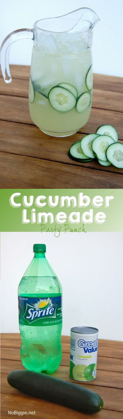 cucumber limeade party punch - this punch is so easy and so good! | NoBiggie.net