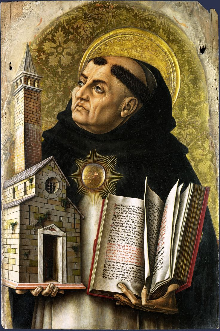 Saint Thomas Aquinas, part of the large 'Demidoff Altarpiece' made for the high altar of San Domenico in Ascoli Piceno, east central Italy. Carlo Crivelli (1494)