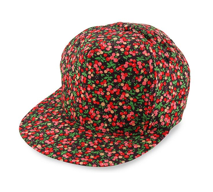 Cherry Snapback by KUKI. Black snapback with a cherry pattern print all over the hat, this hat made from cottonwith red cherry pattern, velcro strap, this hat sure look so eye catching, pair this with your black loose t-shirt or white for a sporty look. http://www.zocko.com/z/JJJH6