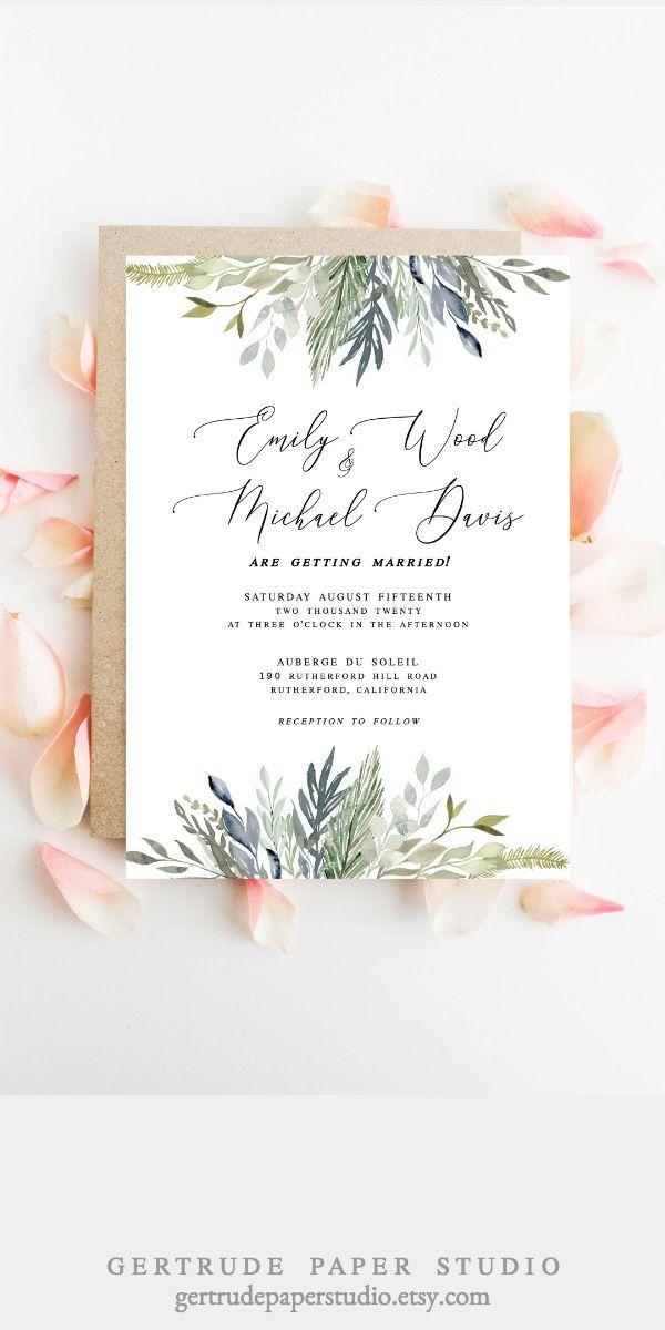 Greenery Wedding Invitations Diy Templates Colors Simple Modern R Modern Rustic Wedding Invitation Diy Wedding Invitations Templates Wedding Invitations Rustic
