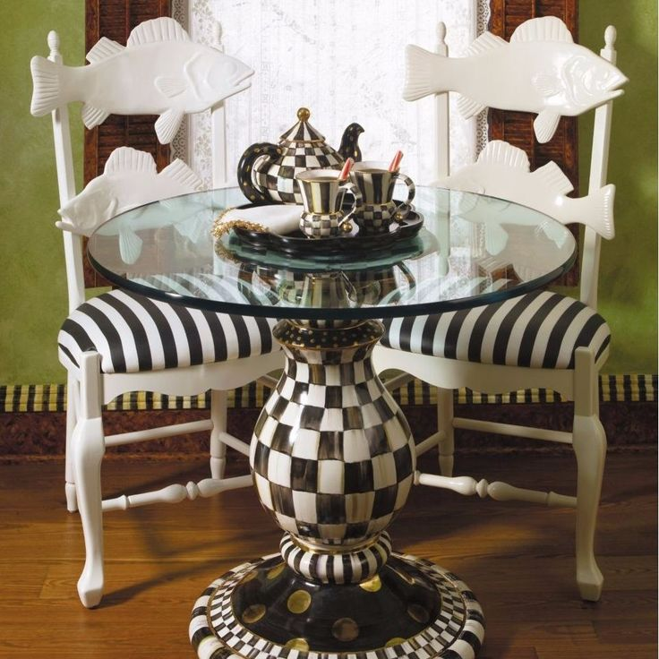 MacKenzie Childs Courtly Check Pedestal Table New Delivery Available
