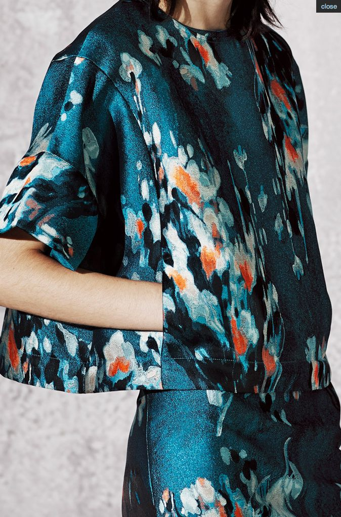 PRE-FALL 2014 Philosophy – blurred, abstract; bleeding painterly floral print on dark background