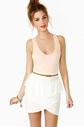 Tulip peplum skirt. high waisted pleated peplum waist.