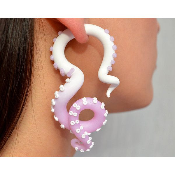"Tentacle Ear Plugs 4g-5/8"" Fake Plugs Fake Gauges, Faux Gauges Octopus... ($23) ❤ liked on Polyvore featuring jewelry, earrings, fake earrings, artificial jewelry, imitation jewelry, imitation jewellery and fake jewelry"