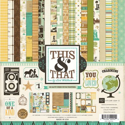 New This & That Charming by Echo Park. Check out the accent papers, brads and chipboard accents. Coming soon to CropChocolate.com!