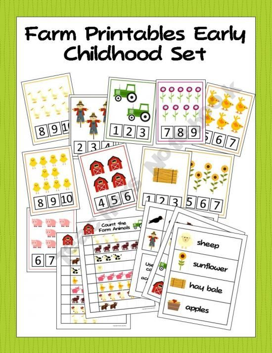 Printable Farm Activities for Preschool and Kindergarten