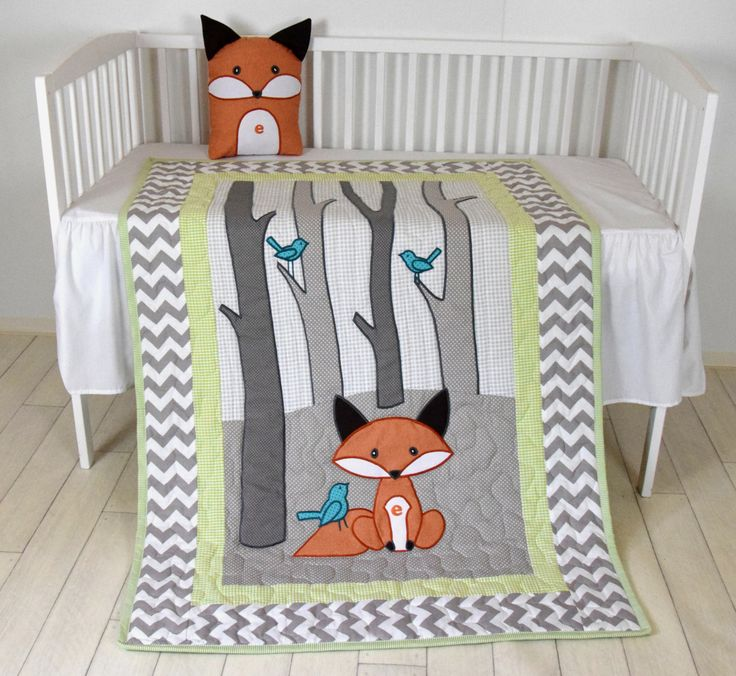 Woodland Blanket Birch Tree Crib Quilt Personalized Fox