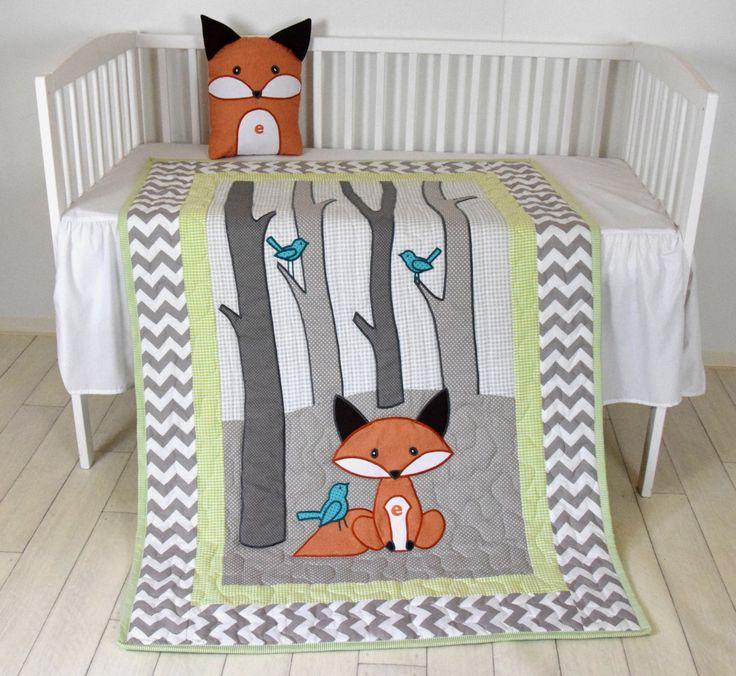 Woodland blanket, Birch tree crib quilt, Personalized fox crib bedding, Personalized baby blanket, gray chevron and lime