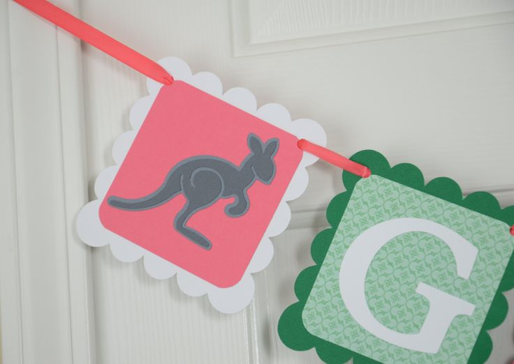 Kangaroo Name Banner, Baby Sign, Baby Shower Sign, Coral Pink, Dark Green and Gray  Banner, Kangaroo Theme by lisamarDesigns on Etsy https://www.etsy.com/listing/214701232/kangaroo-name-banner-baby-sign-baby