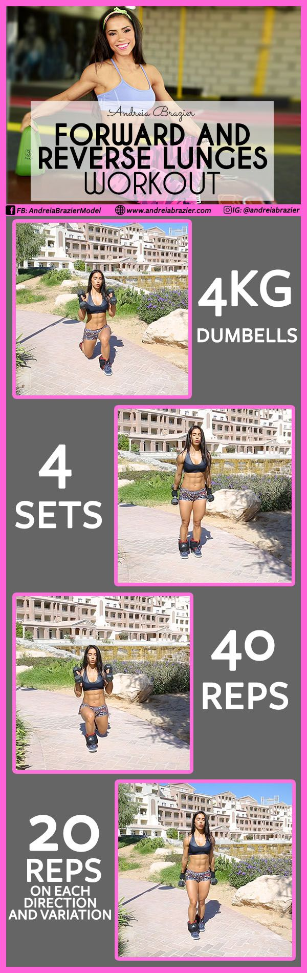 All that you need to do this workout is a Pair of Dumbbells & Ankle Weights. I am using 4 kg Dumbbells on each arm and 2 kg Ankle Weights On each leg. If you are a beginner you can start with 2 kg Dumbbells and NO Ankle Weights for the first 3 weeks then continue to step up your game. Good luck! Watch the full demonstration here: https://www.instagram.com/p/BdNfoyCnUiL/?taken-by=andreiabrazier