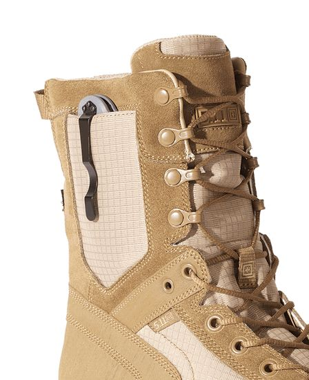 5.11 Tactical RECON Desert Boot.  With a spot for a folding knife?!