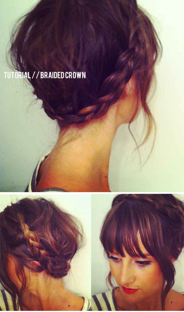This braided crown tutorial is great for shorter hair — and it produces the prettiest waves.