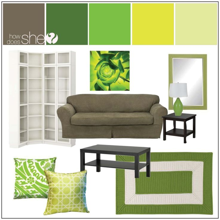 Green Living Room Design Board. How to decorate with different greens in the same room
