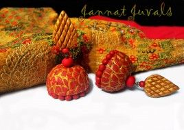 Golden and Red Jhumka