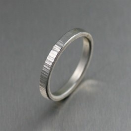 3mm Stackable Chased Sterling Silver Band Ring.  Makes a unique Engagement Ring, Commitment Ring, or Friendship Ring.