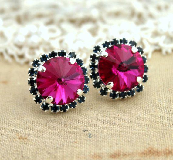 Pink fuchsia and Blue studs Swarovski gifts for women  by iloniti, $41.00