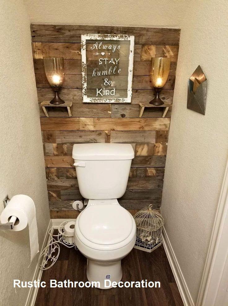 Rustic Bathroom Decoration Ideas In 2020 Rustic Bathroom Diy Half Bathroom Decor Restroom Decor