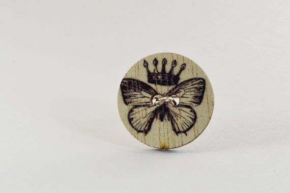 $15 large button ring with a beautiful butterfly design