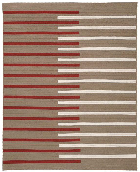 SALE Graphic Modern Throw Quilt - Keyboard (Herb). $195.00, via Etsy.