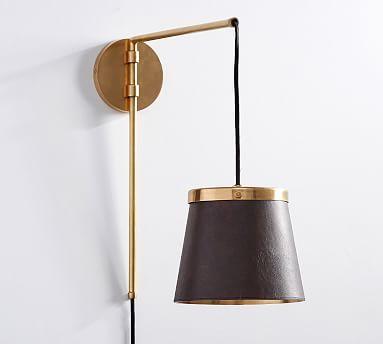 The Emily & Meritt Leather Sconce, Leather/Brass #potterybarn