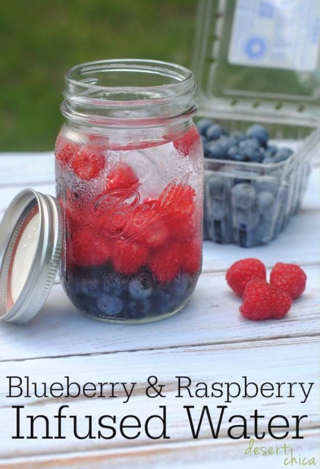 31 Detox Water Recipes for Drinks To Cleanse Skin and Body.  Easy to Make Waters and Tea Promote Health, Diet and Support Weight loss |  BLUEBERRY AND RASPBERRY INFUSED DETOX WATER RECIPE Recipe http://diyjoy.com/diy-detox-water-recipes