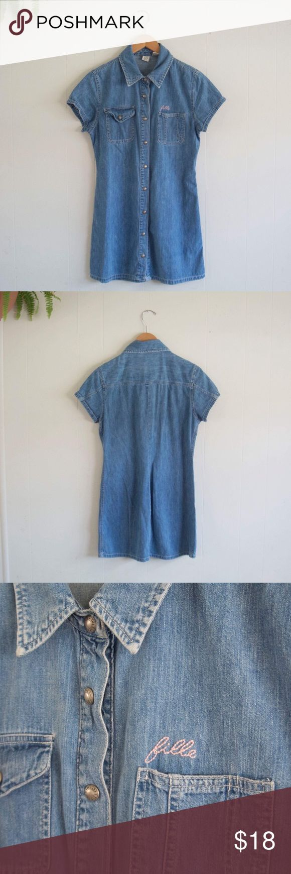 90s vintage GAP denim mini dress Super cute, worn about 3 times. I hand embroidered the word 'fille' (girl in French) above the pocket 🌸 Please ask any questions before purchasing! GAP Dresses Mini