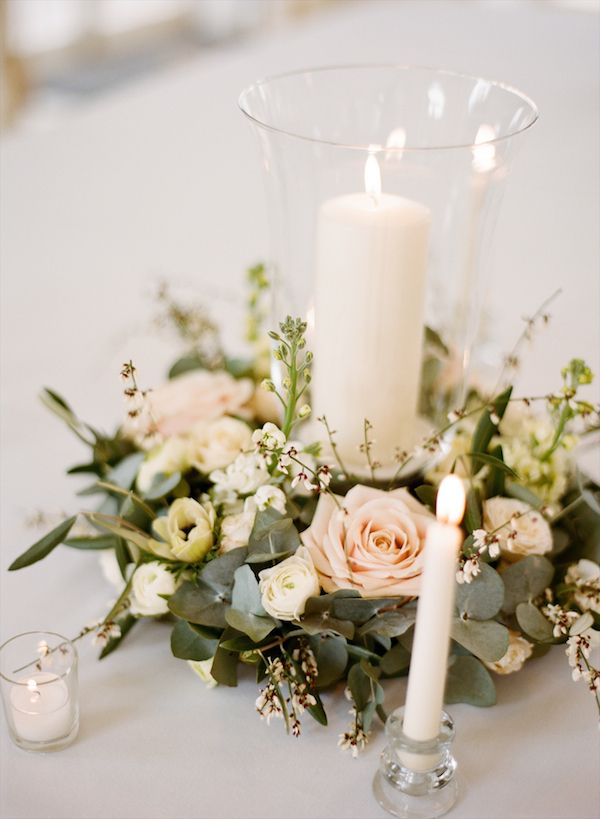 Blush wreath candle centerpiece wedding ideas