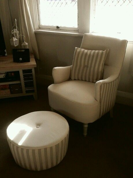 Tan and white striped reading chair