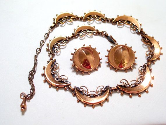 Renoir Necklace Earrings Set Vintage RENOIR Ornate by TheCopperCat