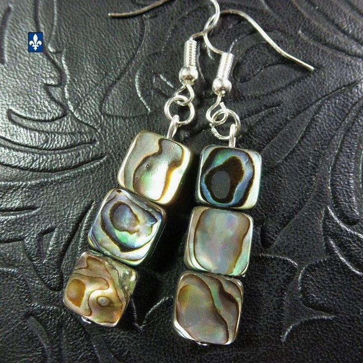 ♥ Pretty Natural Abalone Shell & Plated Silver Squares  Earrings