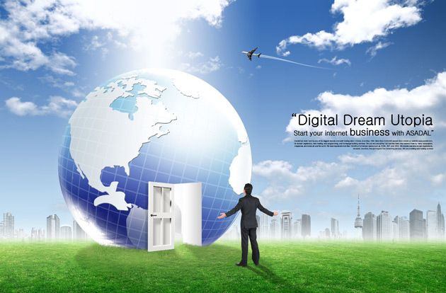 Global business technology PSD material download