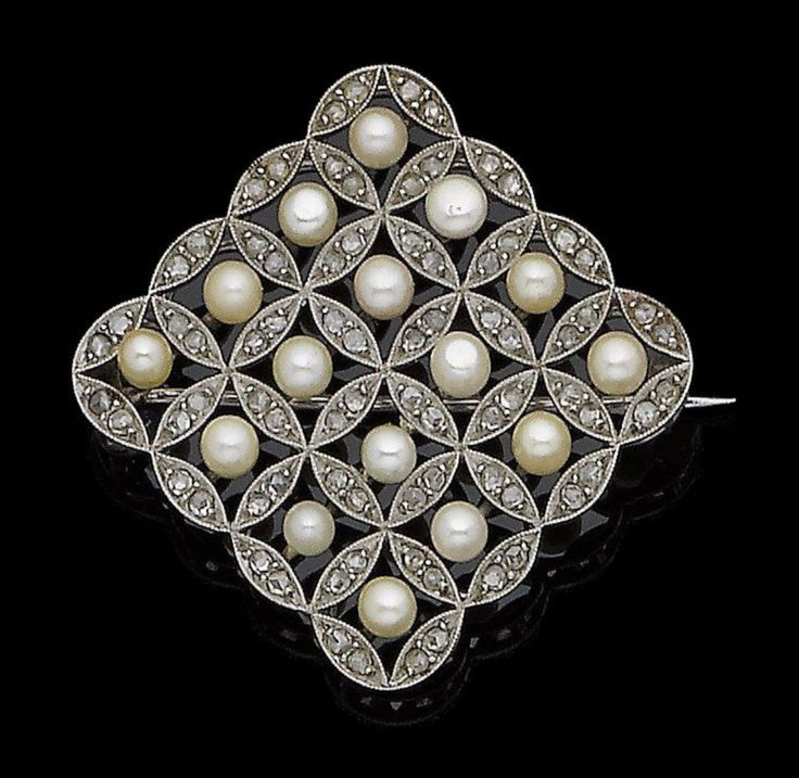 A pearl and diamond plaque brooch The openwork square plaque, set throughout with 3.8mm pearls, each centrally-set within a rose-cut diamond circular surround, millegrain-set throughout, pearls untested, length 4.0cm