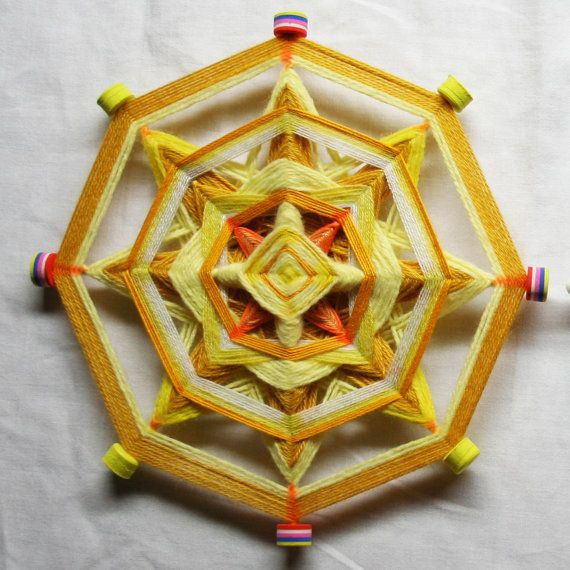 Yellow Mandala God's Eye by PsyMagic on Etsy, €30.00