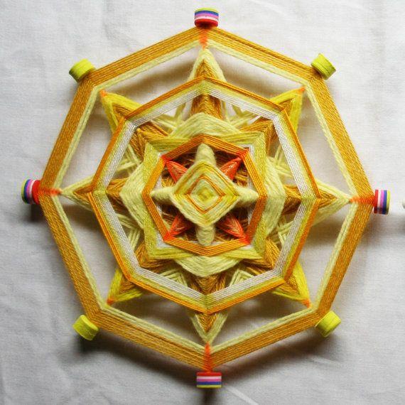 Yellow Mandala God's Eye by PsyMagic on Etsy, €30.00