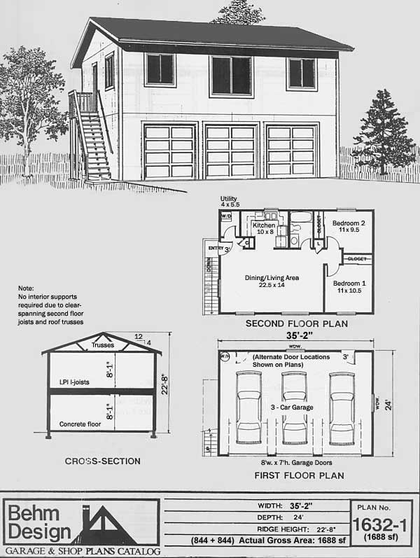 Compact Depth Three Car Garage Has Full Second Story Above And External  Stairway. The Plans Include The Upper 2 BR Plan As Well As An Open Floor  Plan As ...