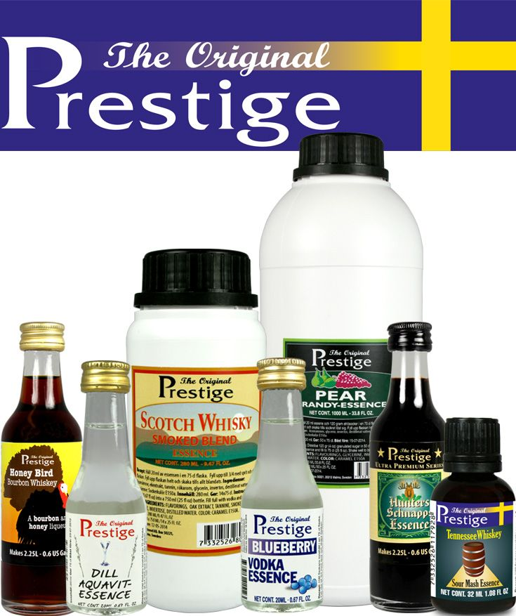 Prestige spritessenser finns i ett jättesortiment smaker. Hembryggning.se / Prestige have a giant assortment of top quality essences for every taste. Partymanshop.com