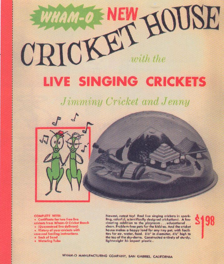 Comes with a certificate for 2 free live crickets…