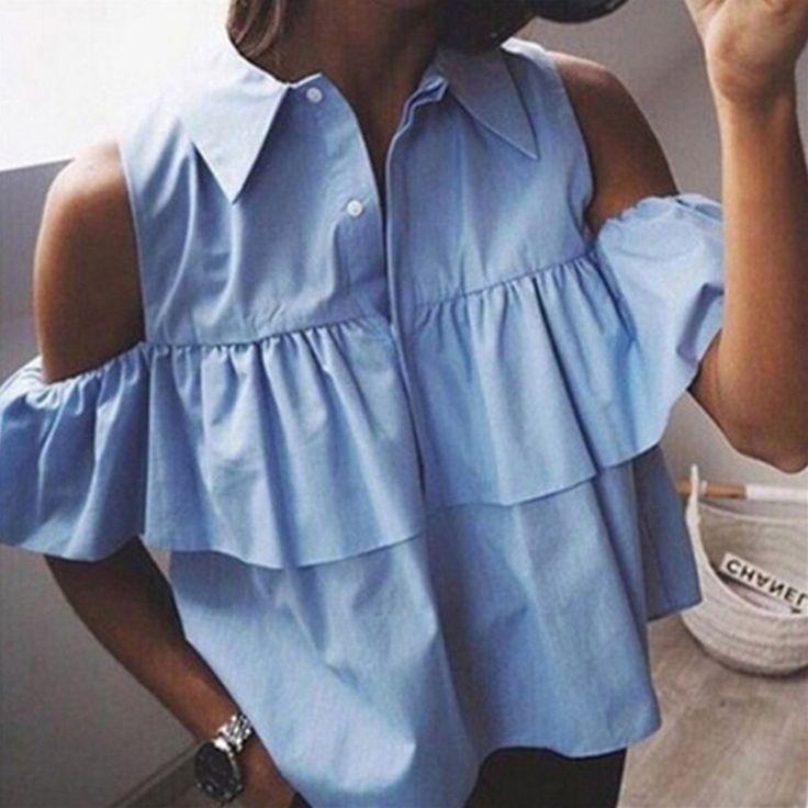 2016Summer Sexy Off Shoulder Ruffles Women Blouse Short Shirts Turn-down Collar Crop Ladies Tops Blusas Femininas Blue and White