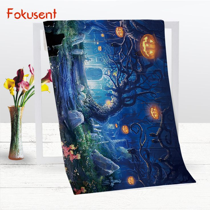 Cheap Bath Towels, Buy Directly from China Suppliers:FOKUSENT Polyester Cotton Microfiber Bath Towel Printed Halloween Pumpkin Tree Quick Drying Soft Beach Towel Yoga Mat for Travel