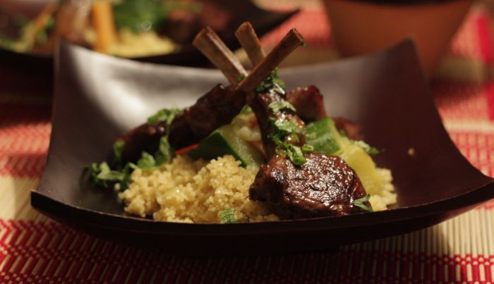 Honey Marinated Lamb with Moroccan Style Couscous